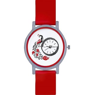 The Shopoholic Round Dial Red Strap Analog Watch For Women