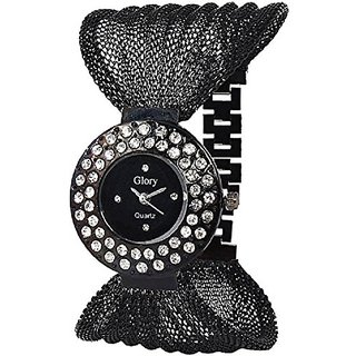 The Shopoholic Round Dial Black Strap Analog Watch For Women