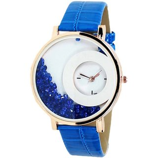 The Shopoholic Round Dial Blue Strap Analog Watch For Women