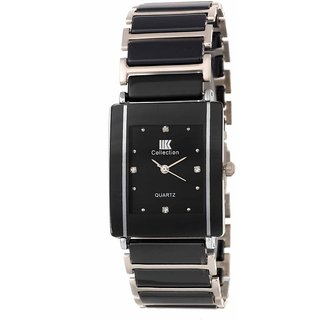 IIK Collection HRV Silver Black Square Dile Best Designing Stylist Professional  Analog Metal Watch For Men,Boys