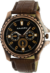Kajaru KJR-1 Round Dial Brown Leather Strap Quartz Watc