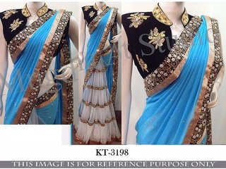 Srk Blue and White Colour Georgette and Net Embroidered Saree KT-3198