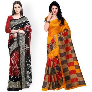 Leeps Prints Multicolored Bhagalpuri Printed Saree With Blouse.