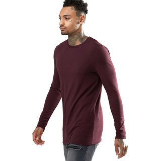 PAUSE Grey Solid Cotton Round Neck Slim Fit Long Sleeve Men's T-Shirt