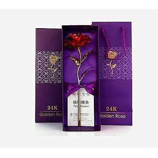 Jaipurcrafts Webelkart 24K Red Gold Rose 10 Inches With Gift Box - Best Gift For Loves Ones, Valentines Day, Mothers Day, Anniversary, Birthday