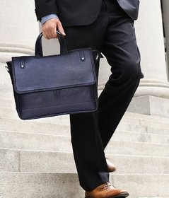 Home Story Synthetic Leather 15.6-Inch Laptop Black Executive Office Bag (Black)