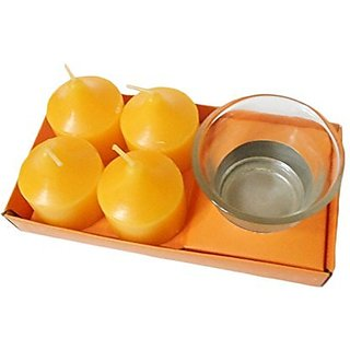Sky Trends Home Decorative Diwali Tea Light Candles With Bowl( Yellow Color 4 Candle Set)