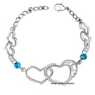 Oviya Rhodium Plated Dual Heart Link Bracelet with Crystal stones for girls and women BR2100300RBlu