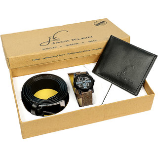 Jack Klein Gift Box Combo of Elegant Multicolor Dial Brown Strap Quartz Analog Wrist Watch, Wallet And Belt (Synthetic leather/Rexine)