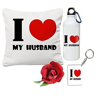 Gifts Lovely Best Wife For Valentine Day 12x12 Cushion Cover And Water Sipper Bottle With Rose Keychain Husband Her Him Birthday