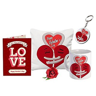 Buy Sky Trends Valentine Gift 12x12 Cushion Cover And Keychain Girls