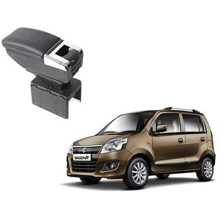Stylish Black Arm Rest Console For Maruti Suzuki WagonR - Arm Rest in Chrome Design with Ashtray, Cup Holder And Storage