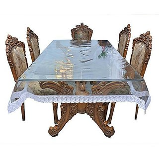 Khushi creations Transparent PVC 1 piece Dining table cover with silver lace.