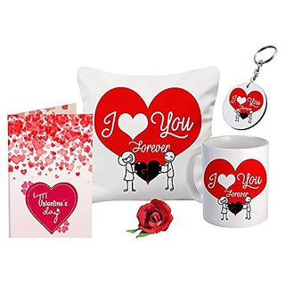 Sky Trends Valentine Gift 12x12 Cushion Cover And Keychain Girls Boys With Rose Message Greeting Card For Loving Wife