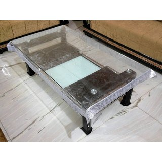 Khushi creations Transparent silver PVC 1 piece center table cover with silver lace