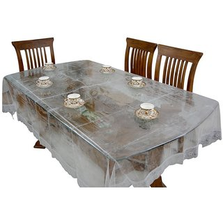 The Khushi creations Dining Table Cloth/ PVC Sheet (Rectangular) 90 X 60 inchsClear PVC sheet with Silver border