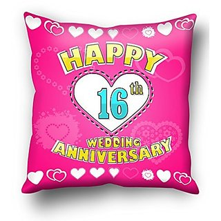 16th Wedding Anniversary.Happy 16th Wedding Anniversary Cushion Cover