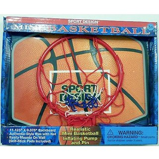 Mini Basketball Hoop with Inflatable Basketball, Inflating Pump & Pin
