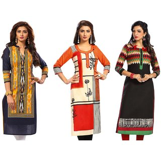 Jevi Prints - Set of 3 Unstitched Women's Cotton Printed Kurti Fabrics (Fabrics Only for Top)