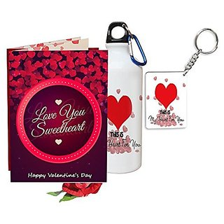 Sky Trends Valentine Gifts Rose With Greeting Card Girlfriend Boyfreind Wife Husband Fiance Message Card Printed Gifts For Propose Day,Hug Day, Rose Day,Keychain Sipper Bottle Anniversary Birthday Gifts 135