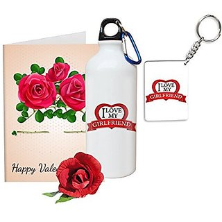 Sky Trends Valentine Gifts Rose With Greeting Card Girlfriend Boyfreind Wife Husband Fiance Message Card Printed Gifts For Propose Day,Hug Day, Rose Day,Keychain Sipper Bottle Anniversary Birthday Gifts 400