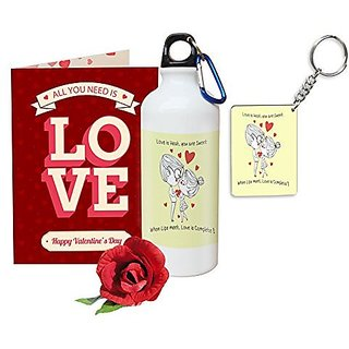 Sky Trends Valentine Gifts Rose With Greeting Card Girlfriend Boyfreind Wife Husband Fiance Message Card Printed Gifts For Propose Day,Hug Day, Rose Day,Keychain Sipper Bottle Anniversary Birthday Gifts 094