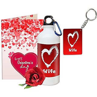 Sky Trends Valentine Gifts Rose With Greeting Card Girlfriend Boyfreind Wife Husband Fiance Message Card Printed Gifts For Propose Day,Hug Day, Rose Day,Keychain Sipper Bottle Anniversary Birthday Gifts 268