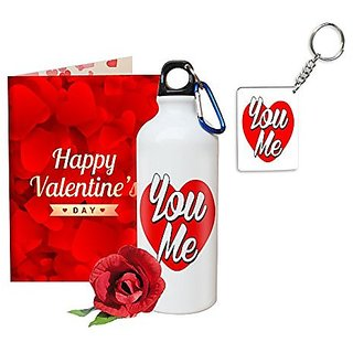 Sky Trends Valentine Gifts Rose With Greeting Card Girlfriend Boyfreind Wife Husband Fiance Message Card Printed Gifts For Propose Day,Hug Day, Rose Day,Keychain Sipper Bottle Anniversary Birthday Gifts 190