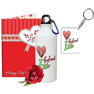 Sky Trends Valentine Gifts Rose With Greeting Card Girlfriend Boyfreind Wife Husband Fiance Message Card Printed Gifts For Propose Day,Hug Day, Rose Day,Keychain Sipper Bottle Anniversary Birthday Gifts 324