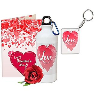 Sky Trends Valentine Gifts Rose With Greeting Card Girlfriend Boyfreind Wife Husband Fiance Message Card Printed Gifts For Propose Day,Hug Day, Rose Day,Keychain Sipper Bottle Anniversary Birthday Gifts 247