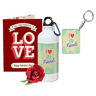 Sky Trends Valentine Gifts Rose With Greeting Card Girlfriend Boyfreind Wife Husband Fiance Message Card Printed Gifts For Propose Day,Hug Day, Rose Day,Keychain Sipper Bottle Anniversary Birthday Gifts 129