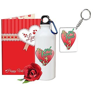 Sky Trends Valentine Gifts Rose With Greeting Card Girlfriend Boyfreind Wife Husband Fiance Message Card Printed Gifts For Propose Day,Hug Day, Rose Day,Keychain Sipper Bottle Anniversary Birthday Gifts 333