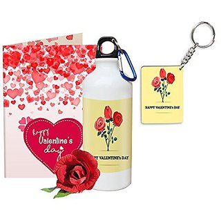 Sky Trends Valentine Gifts Rose With Greeting Card Girlfriend Boyfreind Wife Husband Fiance Message Card Printed Gifts For Propose Day,Hug Day, Rose Day,Keychain Sipper Bottle Anniversary Birthday Gifts 235