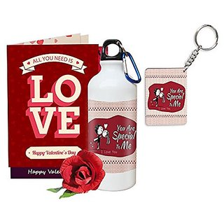 Sky Trends Valentine Gifts Rose With Greeting Card Girlfriend Boyfreind Wife Husband Fiance Message Card Printed Gifts For Propose Day,Hug Day, Rose Day,Keychain Sipper Bottle Anniversary Birthday Gifts 132