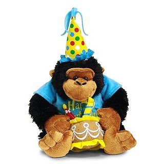 Happy Birthday 12 Plush Monkey With Cake Plays Song