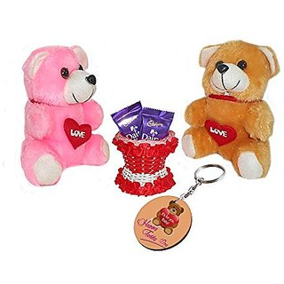 Sky Trends Valentine Gift For Friend Printed Keychain Soft Teddys Artificial Basket Sweet Chocolate Best Gift For Chocolate day Kiss Day Propose day Promise Day Hug Day Rose Day Gifts