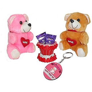Sky Trends Valentine Gift For Husband Printed Keychain Soft Teddys Artificial Basket Sweet Chocolate Best Gift For Chocolate day Kiss Day Propose day Promise Day Hug Day Rose Day Gifts