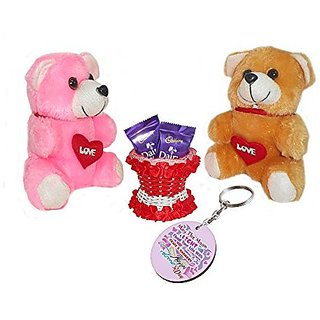 Sky Trends Valentine Gift For Boyfriend Printed Keychain Soft Teddys Artificial Basket Sweet Chocolate Best Gift For Chocolate day Kiss Day Propose day Promise Day Hug Day Rose Day Gifts