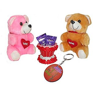 Sky Trends Valentine Gift For Girlfriend Printed Keychain Soft Teddys Artificial Basket Sweet Chocolate Best Gift For Chocolate day Kiss Day Propose day Promise Day Hug Day Rose Day Gifts