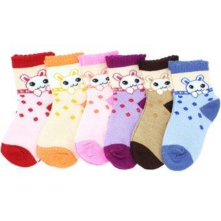 Neska Moda Premium Cotton Ankle Length Multicolor Kids 6 Pair Socks For 1 To 3 Years