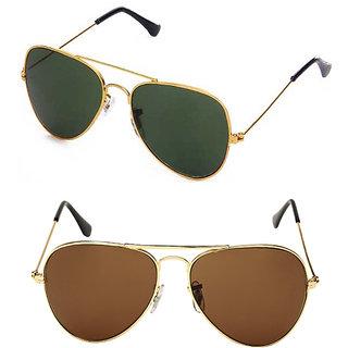 Stylish  Golden Green & Golden Brown Aviator Combo