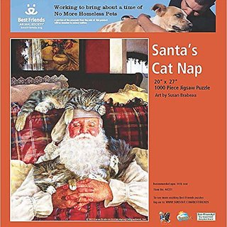 Santas Cat Nap a 1000-Piece Jigsaw Puzzle by Sunsout Inc.