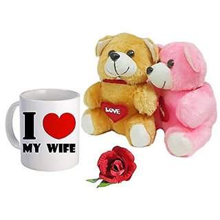Sky Trends Valentine Gifts For Girlfriend Boyfriend Couple Gifts Printed Coffee Mug With Teddy Bear and Artificial Rose a Heart Feeling Gifts 408