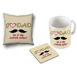 I Love Dad He Is My Super Hero ! Gifts For Fathers Day Coffee Mug Coaster And Cushion Cover Set