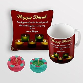 Sky Trends Happy Diwali Yellow Green Best Diwali Gifts For Cushion Cover Coffee Mug Diye Combo
