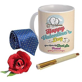Sky Trends Valentine Combo Gift For Friend Printed Coffee Mug Fancy Tie Artyficial Rose And Smooth Wrinter Pen Best Surprised Gift For Friend STG-045