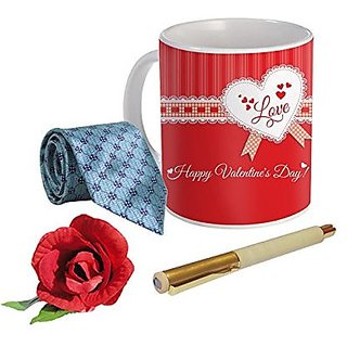 Sky Trends Valentine Combo Gift For Friend Printed Coffee Mug Fancy Tie Artyficial Rose And Smooth Wrinter Pen Best Surprised Gift For Friend STG-070