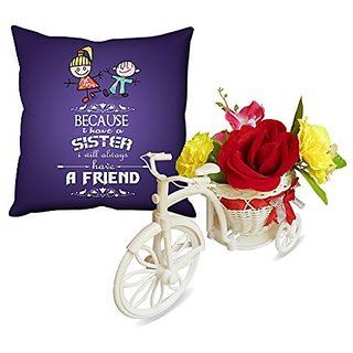 Sky Trends The Special Design Abstract Violet Color Smile Rakhi Raksha Bandhan Gifts For Sister Flowers Cycle And Cushion Cover
