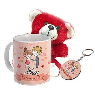 Sky Trends Valentine Teddy Day Combo Gift Set Prinetd Coffee Mug Keychain teddy Best Combination Gift Valentine For Lovers And Couples STG-0042