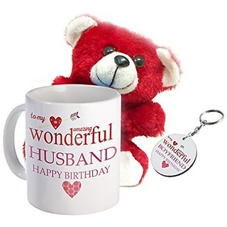 Sky Trends Amazing Valentine Combo Gift Set Printed Coffee Mug Keychain Teddy Valentine Gift Set For Wife Husband Girlfriend Boyfriend Stg-006